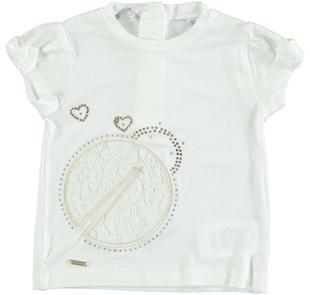 T-shirt a manica corta in viscosa stretch con maniche a bombolino sarabanda PANNA-0112