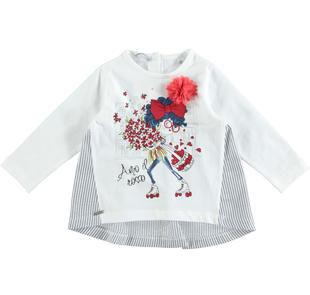Sbarazzina maglietta in jersey stretch di cotone con pattinatrice sarabanda BIANCO-0113