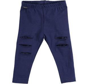 Leggings in cotone con toppe interne in pizzo sarabanda NAVY-3854