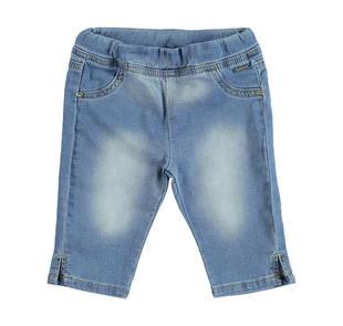 Pantalone bambina modello pescatore in felpa stretch denim sarabanda BLU CHIARO LAVATO-7310