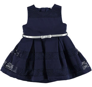 Vestitino scamiciato bambina in cotone con inserti traforati sarabanda NAVY-3854