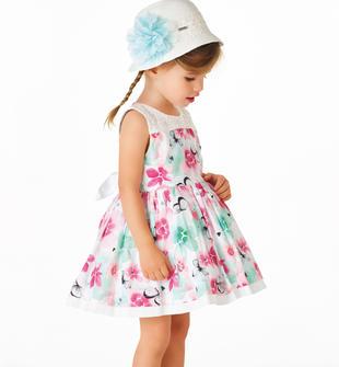 Vestitino floreale in cotone satinato per bambina sarabanda BIANCO-VERDE-6BS2