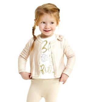 Scintillante cardigan 100% cotone per bambina sarabanda PANNA-ORO-6BJ8