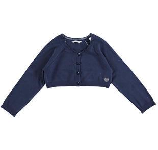 Cardigan corto in tricot di viscosa stretch con manica raglan sarabanda NAVY-3854
