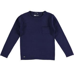 Maglia girocollo in tricot 100% cotone sarabanda NAVY-3854