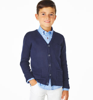 Cardigan per bambino in tricot 100% cotone sarabanda NAVY-3854
