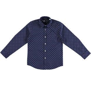 Camicia a manica lunga in popeline jacquard 100% cotone sarabanda NAVY-3854