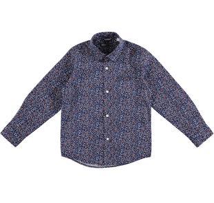 Camicia a manica lunga in cotone satinato fantasia multicolore sarabanda BLU-MULTICOLOUR-6BU2