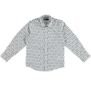 Camicia 100% cotone satinato con fantasia di cravatte sarabanda BIANCO-NERO-6BS3