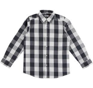 Camicia in tessuto 100% cotone tinto filo sarabanda BIANCO-0113