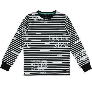 Maglietta di cotone in fantasia mista righe orizzontali e scritte sarabanda NERO-BIANCO-6DL4