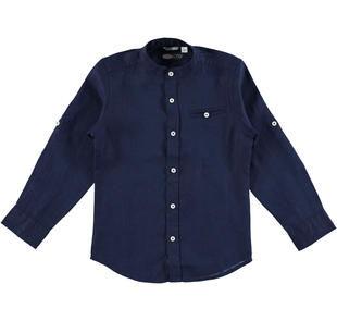 Camicia con collo alla coreana in lino 100% sarabanda NAVY-3854