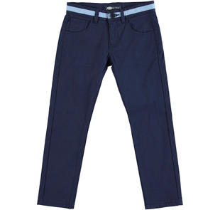 Pantalone slim fit in piquet stretch di cotone effetto righina sarabanda NAVY-3854