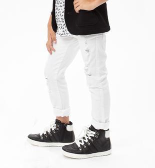Pantalone slim fit in cotone arricchito da strappi sfilacciati sarabanda BIANCO-0113
