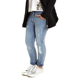 Jeans slim fit arricchito da sabbiature e scalfitture superficiali sarabanda BLU CHIARO LAVATO-7310