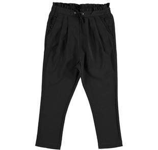 Pantaloni in tessuto crèpe con pinces e ruches sarabanda NERO-0658