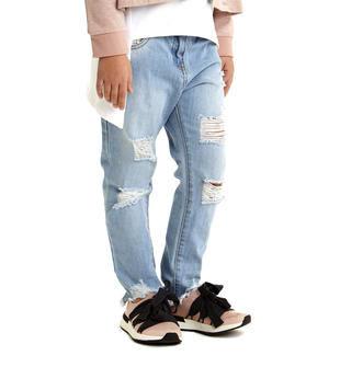 Jeans strappati e sfilacciati alla caviglia modello cavallo calato sarabanda DENIM CHIARO-7113