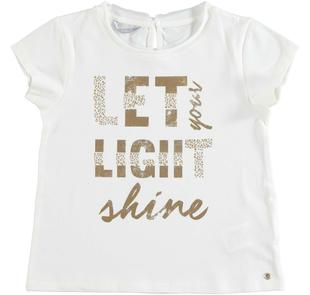 T-shirt bambina in cotone con stampa laminata sarabanda PANNA-0112
