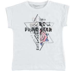 T-shirt in cotone stretch con rosa e borchie sarabanda BIANCO-0113