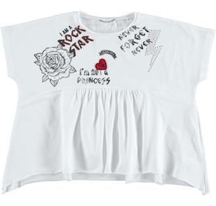 T-shirt bambina modello oversize in cotone con spalle calate sarabanda BIANCO-0113