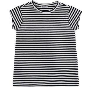 T-shirt rigata in cotone tinto filo con paillettes sarabanda NERO-0658