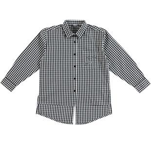 Maxi camicia a quadretti 100% cotone effetto stropicciato sarabanda NERO-0658