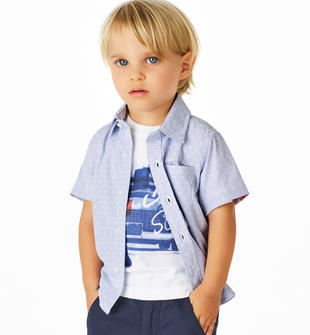 Camicia bambino fantasia microriga con taschino laterale a filetto sarabanda ROYAL SCURO-3755
