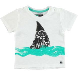 T-shirt in jersey 100% cotone fiammato sarabanda BIANCO-0113