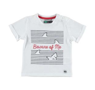 T-shirt 100% cotone con risvoltino nel fondo manica sarabanda BIANCO-BLU-8020
