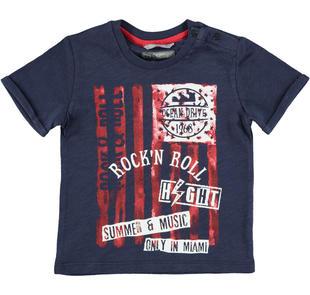 T-shirt 100% cotone con stampa rock sarabanda NAVY-3854
