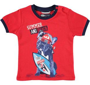 T-shirt bambino 100% cotone con cucciolo con surf sarabanda ROSSO-2256