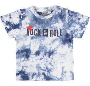 T-shirt in jersey 100% cotone tinta con metodo tie-dye sarabanda NAVY-3854
