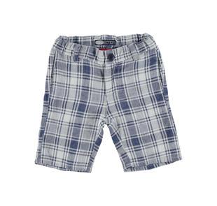 Pantalone corto per bambino a quadri misto cotone e lino sarabanda NAVY-3854