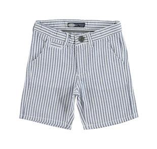 Pantalone corto rigato in tela di cotone tinto filo effetto goffrato sarabanda NAVY-3854