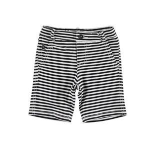 Originale pantalone corto rigato in felpa leggera non garzata sarabanda BIANCO-NERO-6DL1
