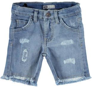 Pantaloni corti bambino in denim stretch delavato con strappi sarabanda DENIM CHIARO-7113
