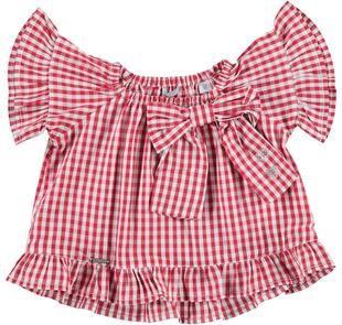 Blusa per bambina svasata in morbida tela di cotone a quadretti sarabanda ROSSO-2256