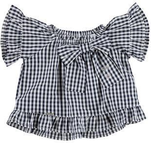 Blusa per bambina svasata in morbida tela di cotone a quadretti sarabanda NAVY-3854