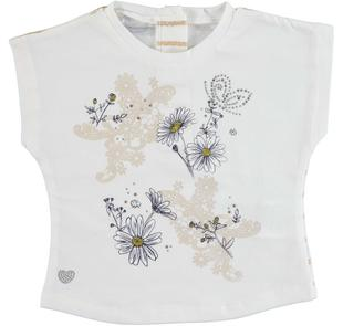 T-shirt bambina in cotone stretch con fiori e farfalle strass sarabanda PANNA-0112