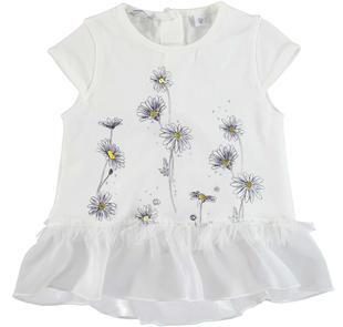 Maxi t-shirt svasata in cotone stretch con inserto in voile sarabanda PANNA-0112