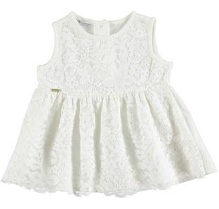 Blusa smanicata per bambina con pizzo floreale sarabanda PANNA-0112
