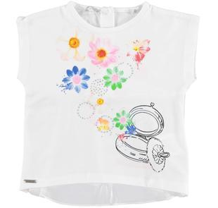T-shirt smanicata in cotone stretch con dettagli glitter sarabanda BIANCO-0113