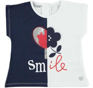 T-shirt bambina in cotone stretch con mezzo cuore e fiore sarabanda NAVY-3854