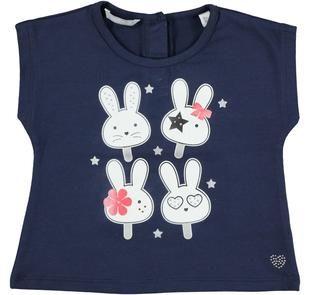 T-shirt smanicata in cotone stretch con conigliette e dettagli laminati sarabanda NAVY-3854