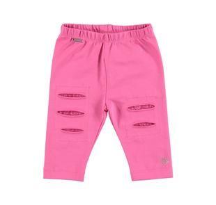 Leggings bambina in cotone con strappi e toppe interne in pizzo sarabanda ROSA-2427