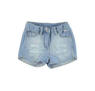Short bambina in denim 100% cotone con strappi e strass sarabanda DENIM CHIARO-7113