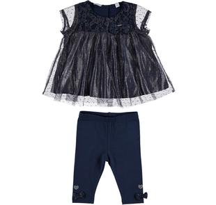Idea regalo: raffinato ed elegante completino bambina sarabanda NAVY-3854