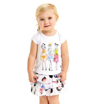 Completino bambina formato da t-shirt e minigonna a balze sarabanda BIANCO-0113