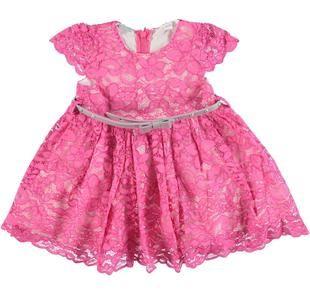 Delizioso vestitino bambina in raffinato pizzo floreale sarabanda ROSA-2427