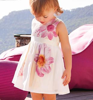 Vestittino in cotone satinato con romantica stampa floreale sarabanda PANNA-ROSA-6CF4